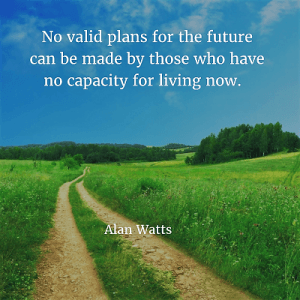 Alan Watts 96. No valid plans for the future can be made by those who have no capacity for living now