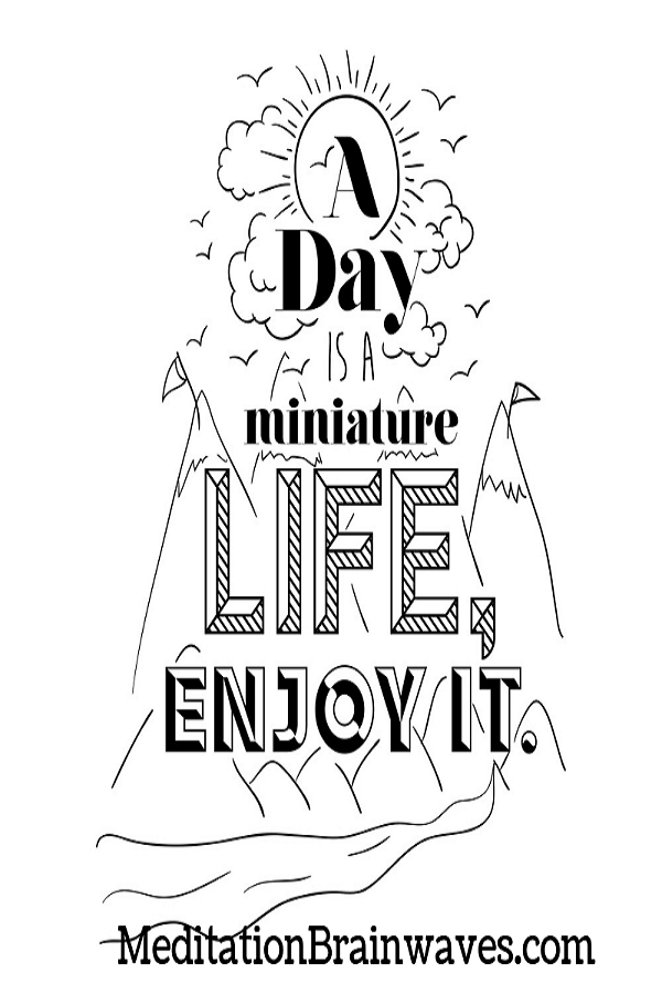 a day is a miniature life enjoy it